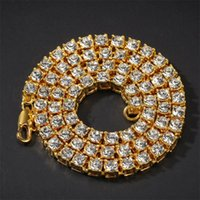 Men Hip Hop 5mm Iced Out Bling Zircon 1 Row Tennis Chain Necklace Jewelry Gold Silver Rose Charms Chains