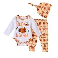 Baby Clothing Sets Boys Suit Girls Outfits Infant Letter Pumpkin Print Long Sleeve Cotton Romper Jumpsuit Pants Hats 3Pcs Toddler Clothes B7471