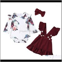 Sets Clothing Baby, Kids & Maternityborn Baby Girl Floral Romper Long Sleeve Jumpsuit Skirts Cotton Casual Clothes Set Outfit Headband 9M-3Y