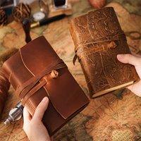Libro de diario de cuero Vintage Hecho a mano Bloc de notas 400p Páginas en blanco Brown Dibujo Sketchbook Travel Diary KDJK2104