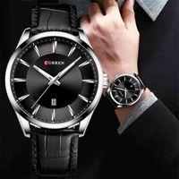 Curren 쿼츠 남성 가죽 스트랩 남성 손목 시계 탑 럭셔리 브랜드 비즈니스 남성 시계 45 mm Reloj Hombres 210407