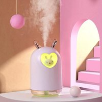 스마트 홈 컨트롤 사랑스러운 공기 가습기 7 in 1 애완 동물 초음파 멋진 안개 아로마 오일 디퓨저 로맨틱 컬러 LED 램프 USB 가습도