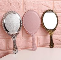 Hand Looking Glass Retro Pattern Vanity Lighted Makeup Mirror Korean Style Princess Compact Mirrors Portable Handle SN2646