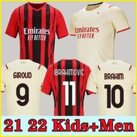21 22 fãs Versão do jogador AC Soccer Milão Giroud Jerseys 2021 2022 Ibrahimovic M.Mignan Tonali Kessie Theo Çalhanoglu Homens Rebic Kid Kits Treinamento de Futebol