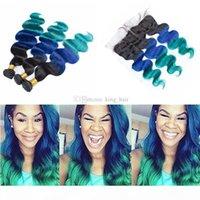 1b الأزرق الأخضر أومبير الشعر البشري 3 حزم مع الدانتيل أمامي 4 قطع الكثير ثلاثة لهجة أومبير الجسم موجة الشعر ينسج مع إغلاق أمامي
