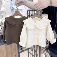 WLG spring autumn girls shirts kids solid beige brown peter pan collar long sleeve shirt baby girl casual all match tops 210331