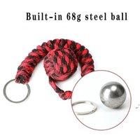 Seil geflochtene Kette Outdoor Selbstverteidigungswaffen Perlen Runde Selbstverteidigung Keychain für Frauen DWE6842