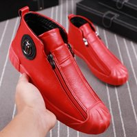 SCARPE ALTA TOP SCARPE MASCHI DOPPIA SICUREZZA Celebrità Casual Scarpe Casuali Alla moda Maschio Martin Shoes Rosso con V1.17