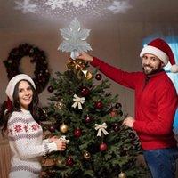 زينة عيد الميلاد شجرة توبر مع تدوير 3d ندفة الثلج العارض جوفاء مضاءة الأوراق نجمة ل