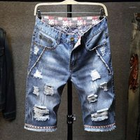 Verão transfronteiriço Denim Shorts Homem Hole Personalidade Cowboy Homens 5 minutos de calças no macho1