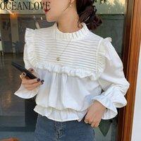 Ruffles Lace Up Blusas Feminina Solid Autumn Flare Sleeve Korean Chic Blouses Women Tops Sweet Ins Fashion Shirts