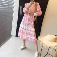 Superaen Summer Corea Fashion All Match Свободная напечатанная рубашка линия полное длинное платье для женщин