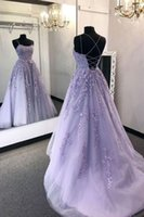 Purple Lace Spaghetti Prom Dress Sleeveless Sexy A Line Evening Gown Graduation Party Formal Dresses