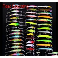 Sports Outdoors Drop Delivery 2021 43Pcslot Lures Set Mixed 6 Models 43 Clolor Minnow Lure Crank Bait Fishing Baits Bass Tackle 4S6Fk