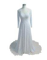 2022 Winter Long Sleeve Wedding Dress Country V-neck Lace Fall Bridal Dresses Plus Size Women Bohemian Vestidos De Novia