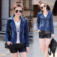 Spring Suit Denim Jacket Women Short Slim Jeans Womens Zipper Casual Coat Ladies Outerwear Lapel Collar Women's Jackets