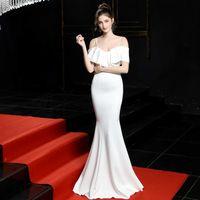 Платья вечеринки с ее плечевой Mermid Одетый S PRTY Девушка в длинном вечернем платье SLSH Free Sece MXI Soiree Robe Elegrt FORML PROMEL BORMEL SYA0