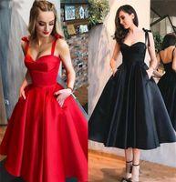 Tea Length Prom Dresses Short With Pockets Sweetheart Straps Zipper Satin A-Line Simple Evening Party Gowns Vestidos De Festa H0916