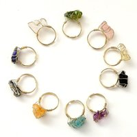 Irregular Natural Crystal Stone Adjustable Gold Plated Band Rings For Women Men Fashion Party Club Punk Jewelry 1216 B3