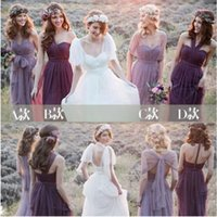 Fantastic A -Line Floor -Length Tulle Convertible Bridesmaid Dress With Five Styles
