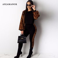 Two Piece Dress ANJAMANOR Animal Print Long Sleeve Set Top And Pants Matching Sets Tracksuit Women Sexy Fall Winter Outfits D35-16