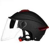 Motorrad Doppellinse Helm Roller Motorrad halb offen Gesicht Helme Sommer Fahrrad Cycly Reiten Dual Visor Lichtstreifen Helm Q0630