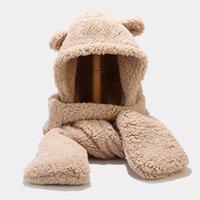 Hat cap Bear three piece set autumn winter scarf gloves one cycling warm tide