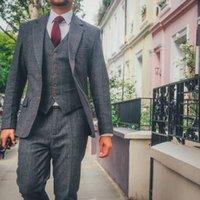 Men's Suits & Blazers Style Designs Grey Tweed Plaid 3 Pieces Business Men Autumn Winter Gentleman Slim Fit Groom Man Wedding Dress Tuxedos