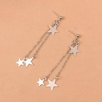 Stud Fashion Simple Star Tassel Pendant Earrings Elegant Female Silver Color Long Chain Girl Party Jewelry Gift