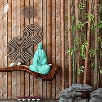 Fondos de pantalla PVC Papel pintado 3D Textura de madera Techo de imitación chino Ático para sala de estar Decoración tailandesa