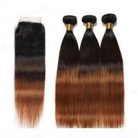 # 1B 4 30 Siyah Kahverengi Auburn 3 Tone Ombre Brezilyalı İnsan Saç Atkıları Kapatma Ile Düz Orta Auburn Ombre 4x4 Dantel Kapatma 3Bundles ile