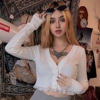 자매 린다 우아한 니트 레이스 자르기 탑 여성 Tshirts 얇은 스웨터 슬림 V 넥 티셔츠 프랑스 스타일 티셔츠 Mujer 의상