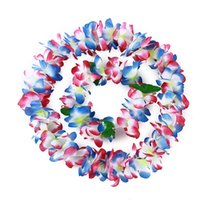 Decorative Flowers & Wreaths 4pcs Hawaiian Hula Flower Garland Set Lei Luau Fancy Dress Beach Part Necklace Headband Bracelet Wristband