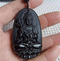Natural preto flared pedra jade buddha amuleto boa sorte pingente livre deli muito