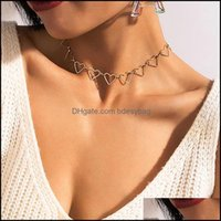 Chokers Necklaces & Pendants Jewelryelegance Heart Chain Choker Necklace For Women Girls Hollow Out Geometric Gold Color Alloy Metal Jewelry