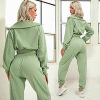 Gym Clothing 2021 Zipper Women Green Tracksuit 2 Piece Set Casual Sport Outfits Sweatshirt+Sweatpants Jogger Pants Winter Sportswear