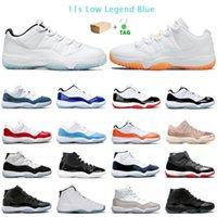 Neue Ankunfts-Vorrat X Concord Blau 11 11s Jumpman Basketball-Schuhe Low Weiß Bred Concord 45 Metallic Silver Trainer Männer Sport-Turnschuhe