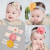 Baby Girls Camellia Flower Lace Headbands Elastic Hair Bands Sweet Toddler Kids Headwear Headdress Vacker Huilin BH110