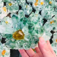 Decorative Objects & Figurines 500-800g Natural Green Ghost Quartz Crystal Cluster Healing Crystals Gemstone Specimen For Home&office De