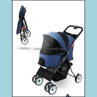 Supplies Home & Garden Dog Car Seat Ers Pet Stroller Lightweight And Foldable Medium-Sized Small Trolley Teddy Cat Out Four Wheel Scooter Dr