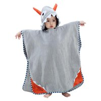 Towel High Quality Baby Bathrobe Cute Hooded Ox Horn 0-7 Years Babies Colorful Animal Cotton Pajamas Children's