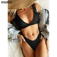 INGAGA Black Bikini Women's Swimsuit V-neck Swimwear Women High Cut Sexy Biquini Push Up Bathing Suits 2021 Summer Beachwear