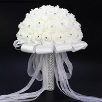 19cm Diameter Wedding Bouquet White Dreamy Beautiful Rose Holding Flowers Hydrangea Bride Bridesmaids Flower Marry Dress Decorative & Wreath