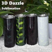 20oz Sublimation Straight Tumbler 3D Dazzle Color Skinny Tumblers Peacock Pattern Glitter Heat Transfer Stainless Steel Water Bottles 2-Layers Insulated Cups Mugs