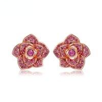 Custom original new ins Rose Crystal Earrings