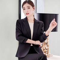 Women's Suits & Blazers Elegant Female Blazer Black Slim Autumn Coat Solid Color Temperament Casual Women 2021 All-match Loose Jacket
