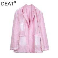 Women's Jackets DEAT Women Pink Gauze Patchwork Pockets Design Notched Long Sleeve Casual Style Coat 2021 Autumn Fashion 15JK284