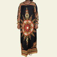 Ethnic Clothing Dashiki Maxi Dresses For Women African High Quality Pure Cotton Black Traditional Print Long Sleeves Elegant Casual Party