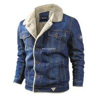 겨울 남성 데님 재킷 망 패션 캐주얼 청바지 남자 따뜻한 두꺼운 코트 남성 모피 칼라 폭격기 코트 겉옷 남자 자켓