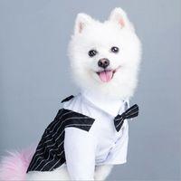 Dog Apparel Classic Wedding Suit Dress Pet Cat Clothes Striped Tuxedo Vest Shirt Bow Tie Weeding Decorartion